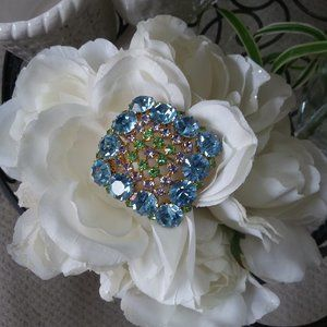 STUNNING Multi COLOR STONE Vintage BROOCH Oh My